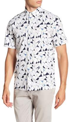 Theory Murrary Geoline Print Short Sleeve Standard Fit Shirt