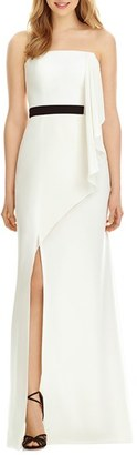 Women's Social Bridesmaids Strapless Georgette Drape Front Maxi Dress $224 thestylecure.com