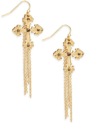 Thalia Sodi Gold-Tone Yellow Stone Cross & Chain Fringe Drop Earrings, Created for Macy's