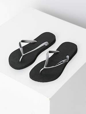 Havaianas New Womens Slim Rubber Logo Thongs In Black Silver Thongs