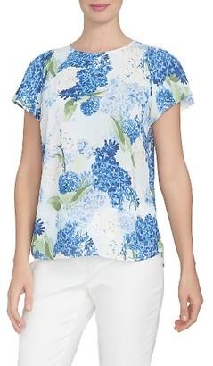 Women's Cece Hydrangea Flutter Sleeve Blouse $69 thestylecure.com