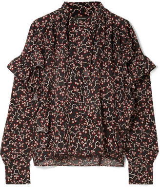 Isabel Marant Libel Ruffled Printed Silk Crepe De Chine Blouse - Black