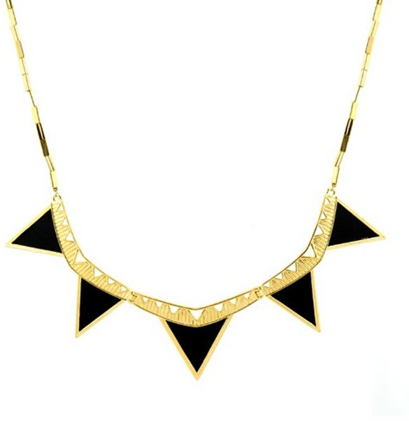 House of Harlow 1960 Jewelry Triangle Armor Five Station Necklace