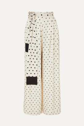 Mother of Pearl Fringed Polka-dot Satin Wide-leg Pants - Ivory