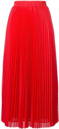 RED Valentino long pleated mesh skirt