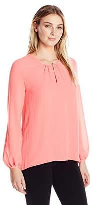 Ellen Tracy Women's Shirred Neck Blouse