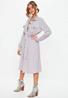 Missguided Gray Utility Midi Shirt Dress