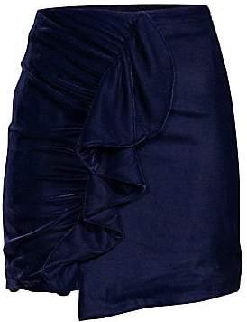 PatBO Women's Velvet Ruffled Mini Skirt