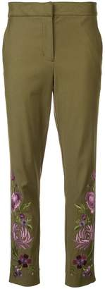 Josie Natori embroidered slim trousers
