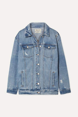 Madewell Oversized Distressed Denim Jacket - Light denim