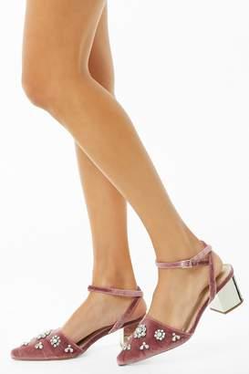 Forever 21 Embellished Velvet Block Heels