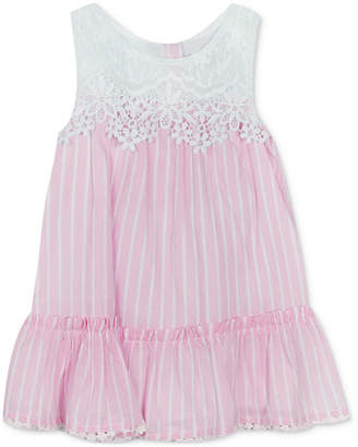 Rare Editions Baby Girls Lace Striped Dress