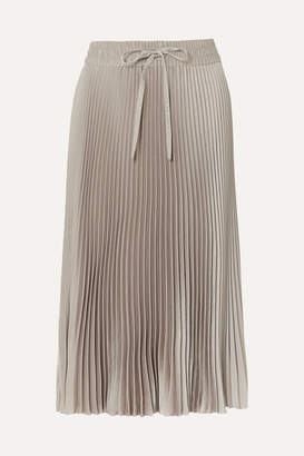 RED Valentino Pleated Satin Midi Skirt - Gray