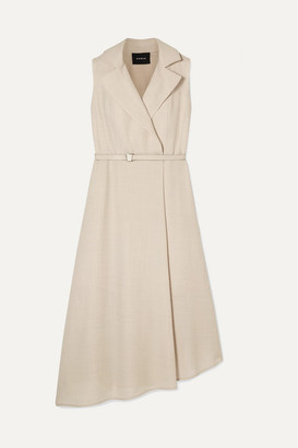 Akris Belted Wrap-effect Wool-crepe Midi Dress - Beige