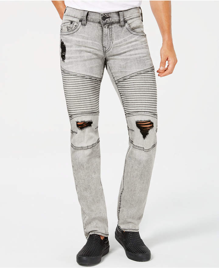 True Religion Men's Slim-Fit Stretch Destroyed Moto Jeans