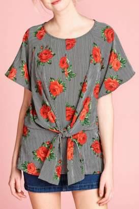 Oddi Floral-Striped Tie Top