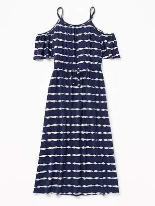 Old Navy Tie-Dye Stripe Cold-Shoulder Midi Dress