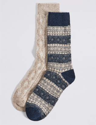 Marks and Spencer 2 Pack Thermal Wool Fairisle Socks