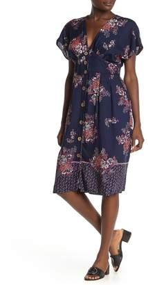 Angie Floral V-Neck Button Midi Dress