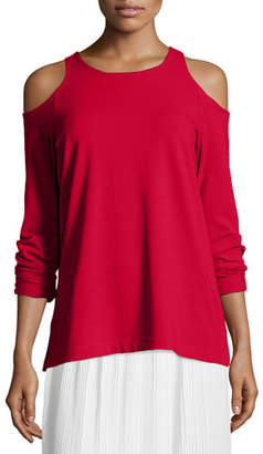 Joan Vass Cold-Shoulder Long-Sleeve Top, Plus Size