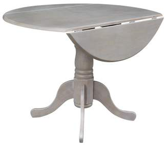INC International Concepts Round Dual Drop Leaf Pedestal Dining Table in Washed Gray Taupe