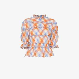 REJINA PYO high neck check print ruffle detail blouse