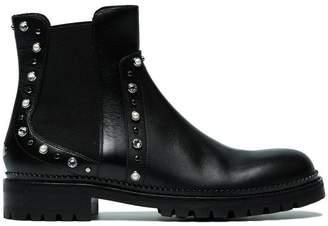 Jimmy Choo Black Burrow crystal leather boots