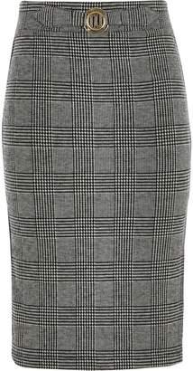 River Island Girls grey check side stripe tube skirt