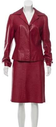 Alberta Ferretti Embossed Leather Skirt Suit