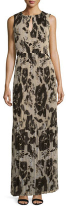 St. John Collection Floral Pleated Sleeveless Maxi Dress, Alabaster/Multi $1,595 thestylecure.com