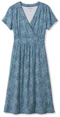 L.L. Bean L.L.Bean Summer Knit Dress, Short-Sleeve Multi-Floral Print