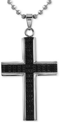 Macy's Men's Diamond Cross Pendant Necklace (1/2 ct. t.w.) in Stainless Steel with Rhodium Plating