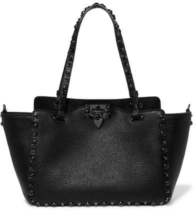 Valentino - The Rockstud Textured-leather Trapeze Bag - Black