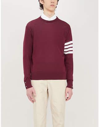 Thom Browne Striped long-sleeved crewneck wool jumper