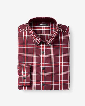 Express Extra Slim Button Collar Plaid Shirt