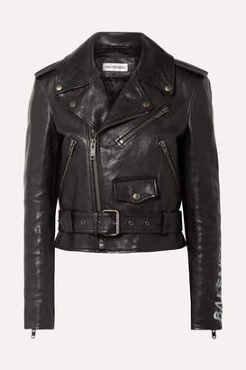 Balenciaga Printed Textured-leather Biker Jacket - Black