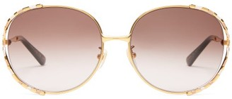 Gucci Round Enamel And Metal Sunglasses - Womens - Purple