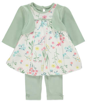 George Green Printed Puffball Dress and Leggings Outfit