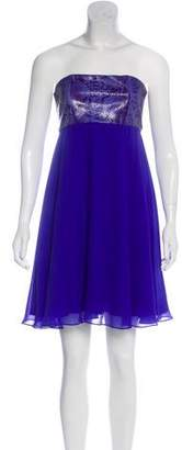 Alice + Olivia Silk Leather-Paneled Dress