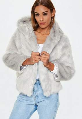 Missguided Gray Faux Fur Hooded Coat