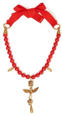 Valentino Bead Embellished Necklace - Womens - Red