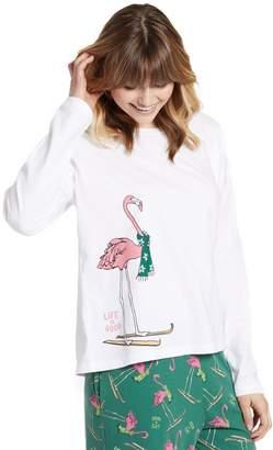 Life is Good Women's Relaxed Skiing Flamingo Sleep Tee
