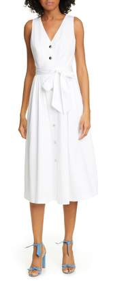 Ted Baker Ryylie Button-Up Tie Front Cotton Midi Dress