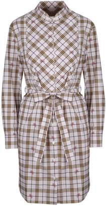 Burberry Checked Print Bow Detailed Dress