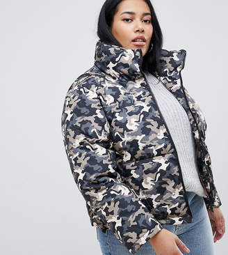 Brave Soul Plus Tash Oversize Puffer Coat in Camo