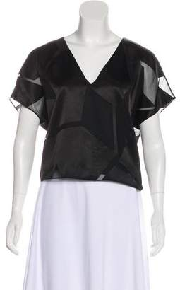 Alice + Olivia Mesh-Accented Short Sleeve Top