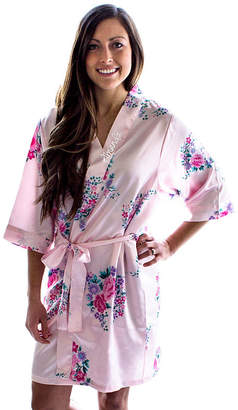Cathy's Concepts CATHYS CONCEPTS Personalized Floral Satin Satin Kimono Robes