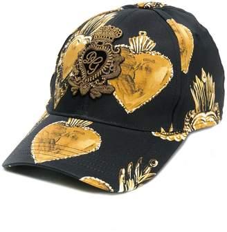 Dolce & Gabbana golden heart print baseball cap