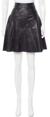 Hanley Mellon Leather Knee-Length Skirt w/ Tags