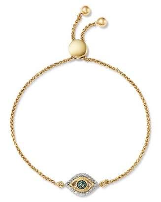 Adina 14K Yellow Gold Tiny Evil Eye Blue & White Diamond Bolo Bracelet